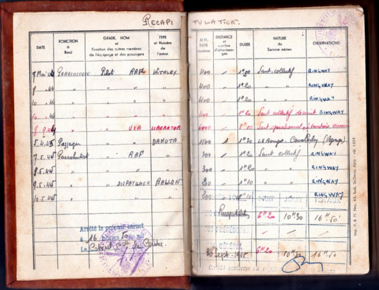 La première page du Carnet  Individuel de Services Aériens récapitule les services aériens antérieurs .Le Brevet Parachutiste Anglais ,soit trois sauts de jour et un saut de nuit à partir d' avion WITHLEY ( Royal Air Force ) au centre d' entrainement de RINGWAY les 7,8 et 10 mai 1944 .Le 8 Septembre 1944 un saut operationnel de nuit en territoire ennemi à partir d' avion LIBERATOR (USA )